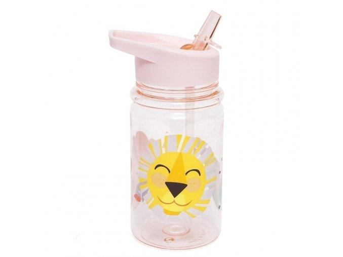 Průhledná láhev se skládacím náustkem Pink pastel