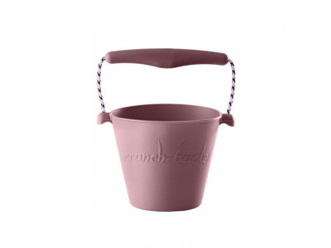 Silikonový kbelík na vodu a písek- Pudrově růžový