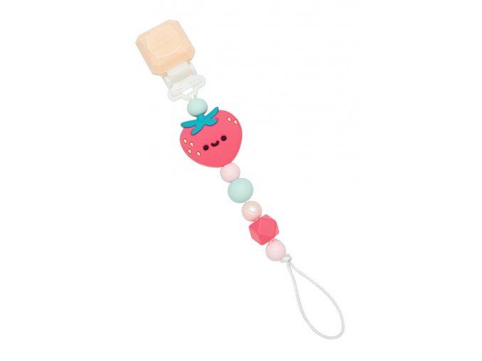 Silikonový klip na dudlík - Strawberry
