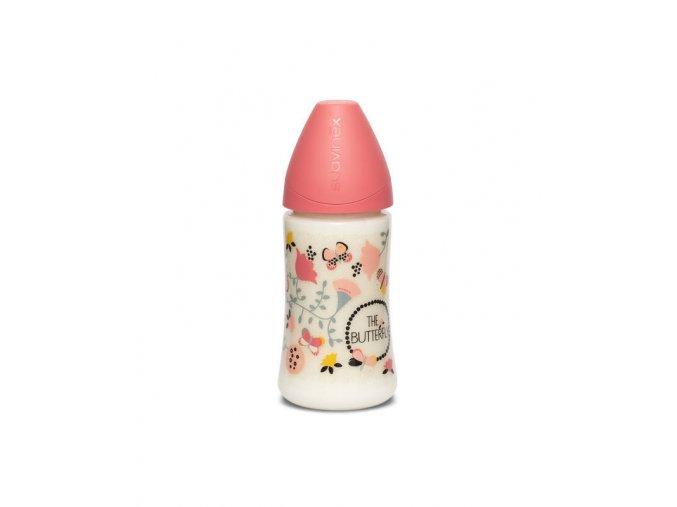 Kojenecká láhev SUAVINEX 270ml- růžový motýl