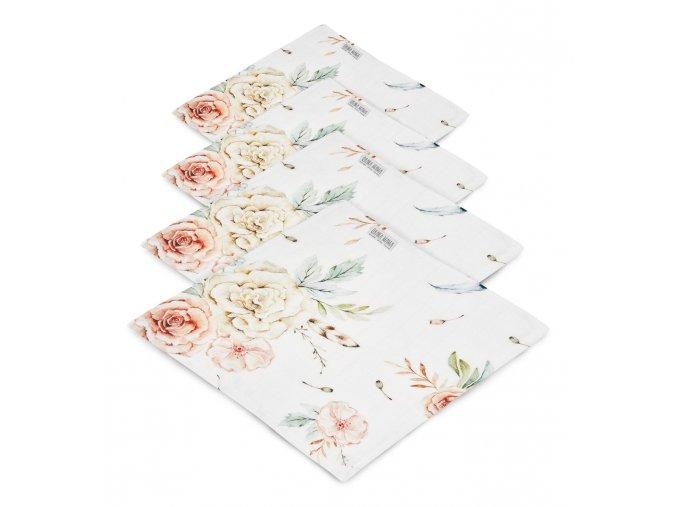 4- pack mušelínové plenky- Vintage květy