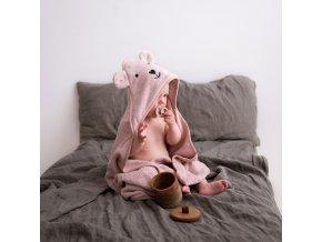 Bambusový ručník s kapucí- pudrový