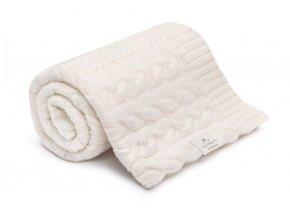 Pletená deka z merino vlny- smetanová