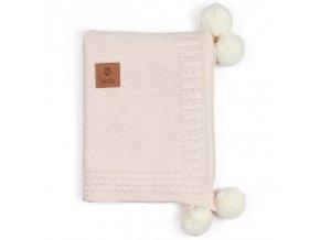 Bambusovo-bavlněná deka s kapucí- pudrově béžová
