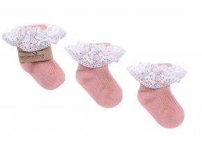 Ponožky s krajkou pudrové