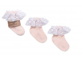 Ponožky s krajkou- meruňkové