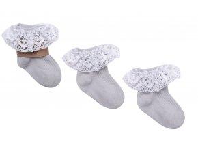 Ponožky s krajkou- šedé