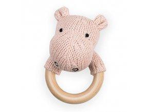 Dřevěné chrastítko s kousátkem - Hippo Blush