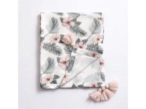 Bambusová přikrývka 80x100cm- květy