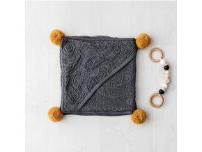 Bambusová deka s ponponami- grafitová
