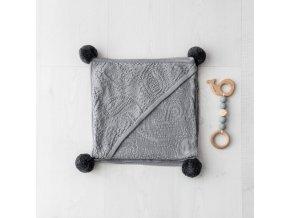 Bambusová deka s ponponami- šedá