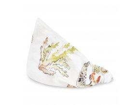 Bambusový šátek s gumičkou- Želvy