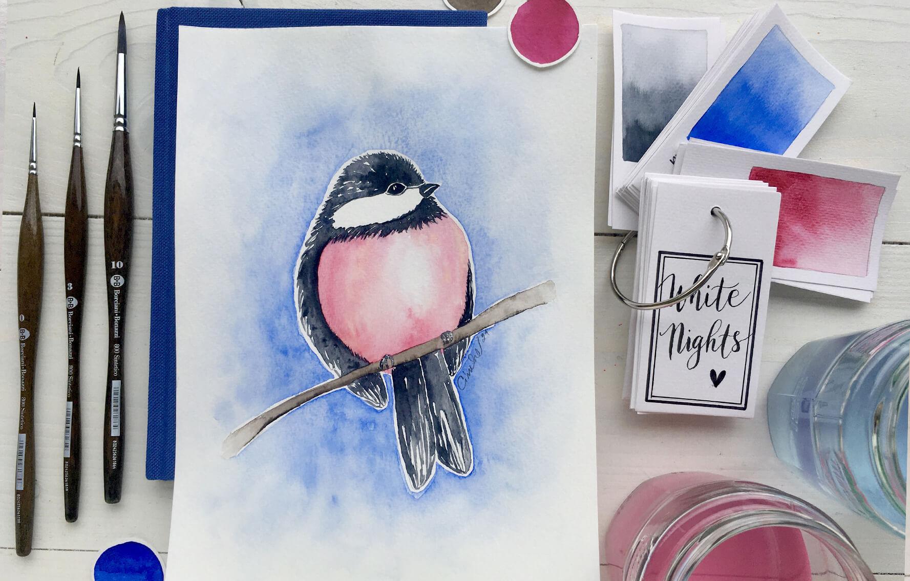 Akvarel krok za krokem: Ptáček