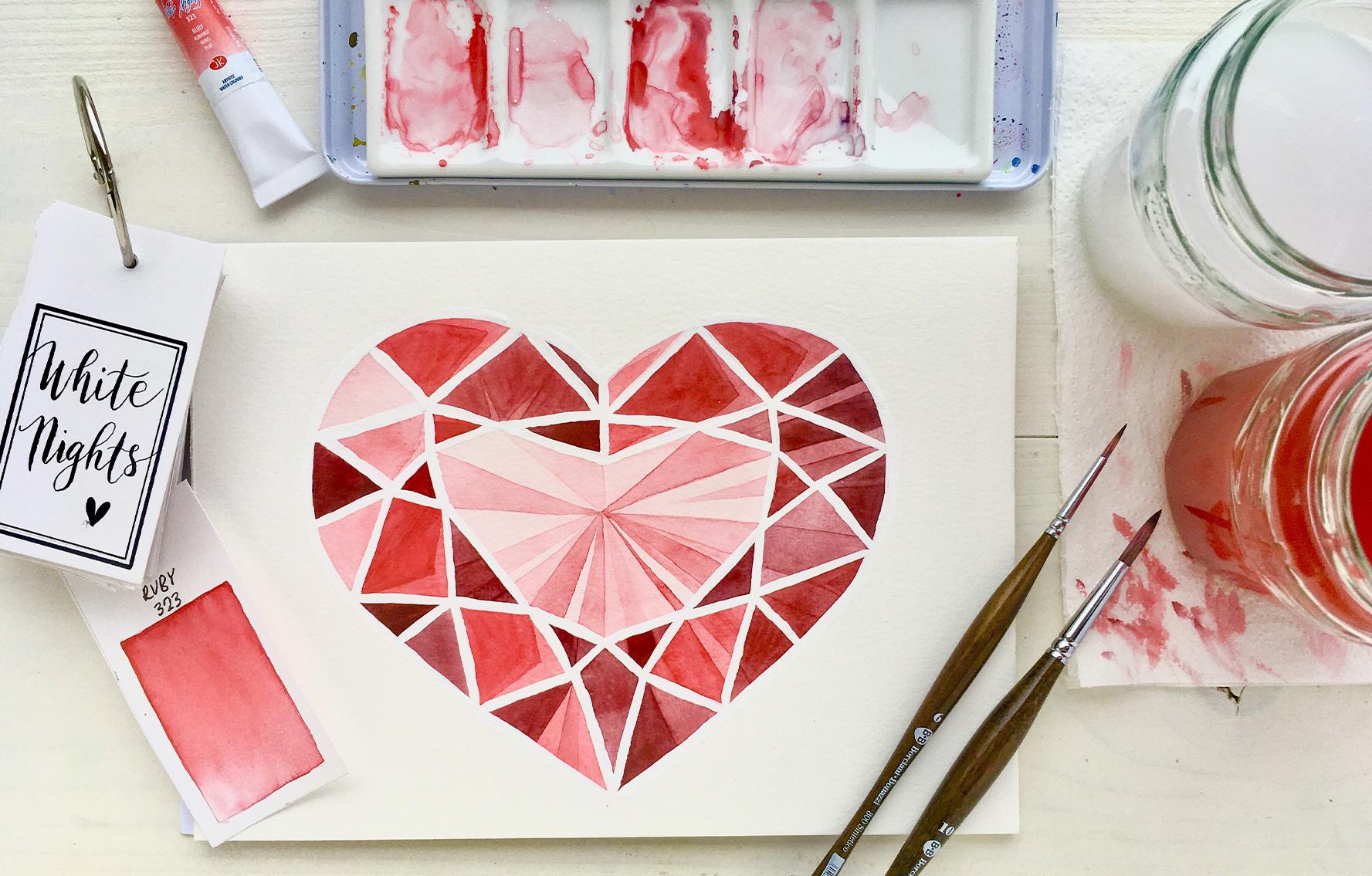 Akvarel krok za krokem: Rubínové srdce