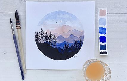 Akvarel krok za krokem: Krajinka