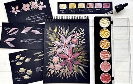 Akvarel krok za krokem: Metalické květiny s barvami Coliro