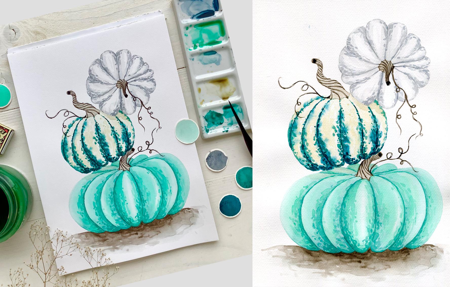 Akvarel krok za krokem: Dýně v zimních barvách