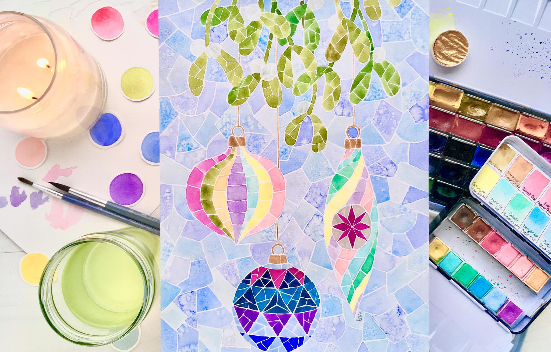 Akvarel krok za krokem: Vánoční mozaika