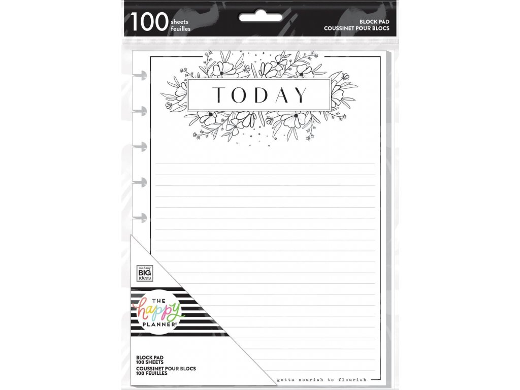 Poznámkový blok Happy Planner CLASSIC Black And White Floral