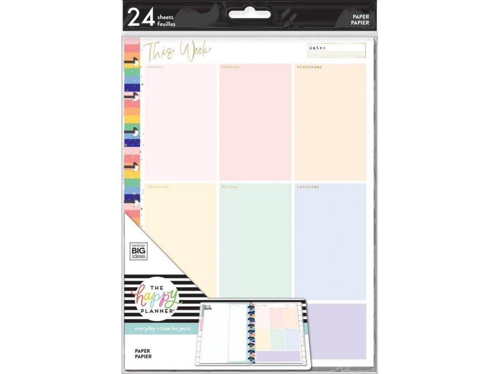Poznámkové listy Happy Planner CLASSIC Weekly Colorblock