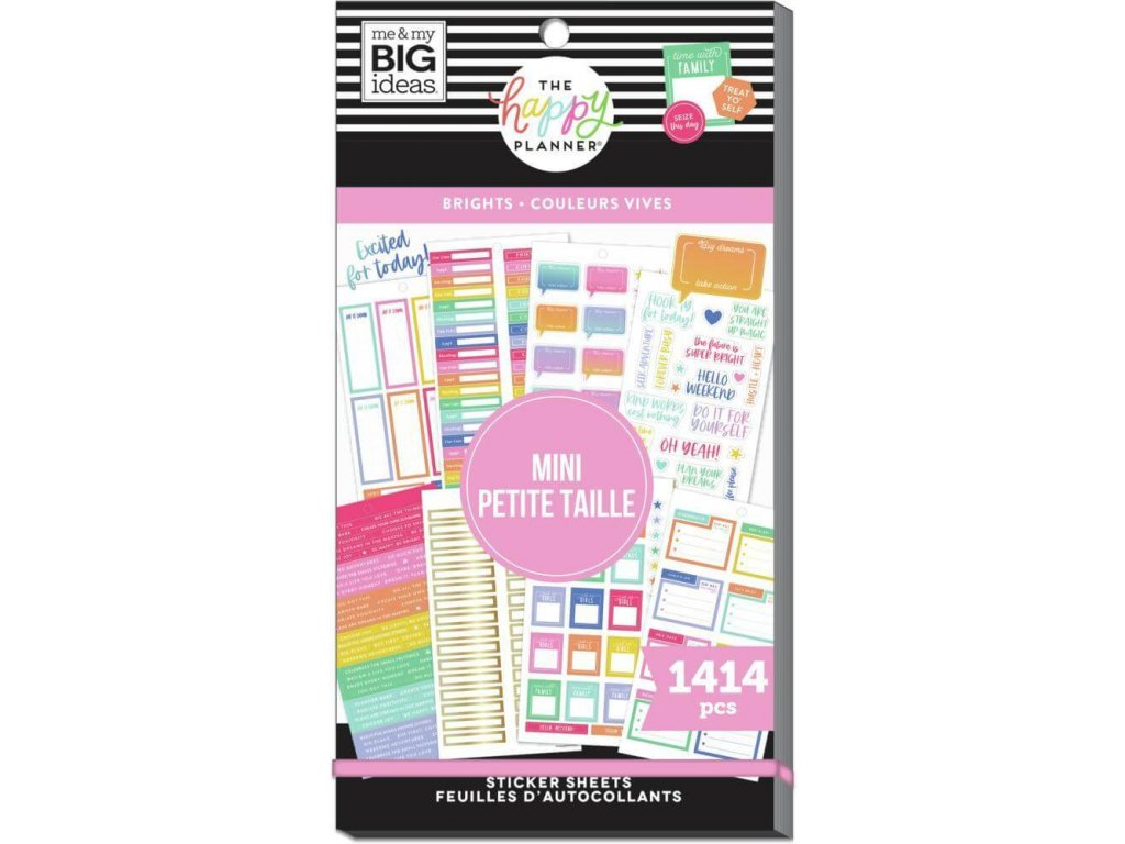Samolepky Happy Planner SKINNY MINI Value Pack Brights