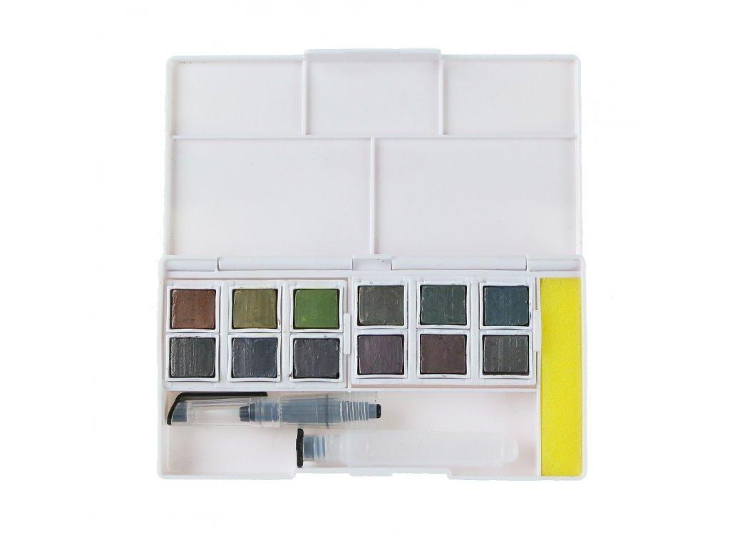 akvarelové barvy Derwent Graphitint 12 ks