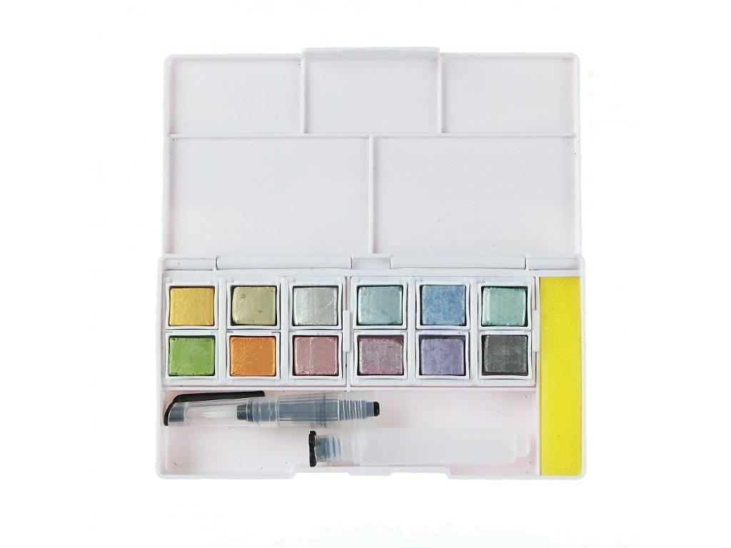akvarelové barvy Derwent Metallic 24 ks