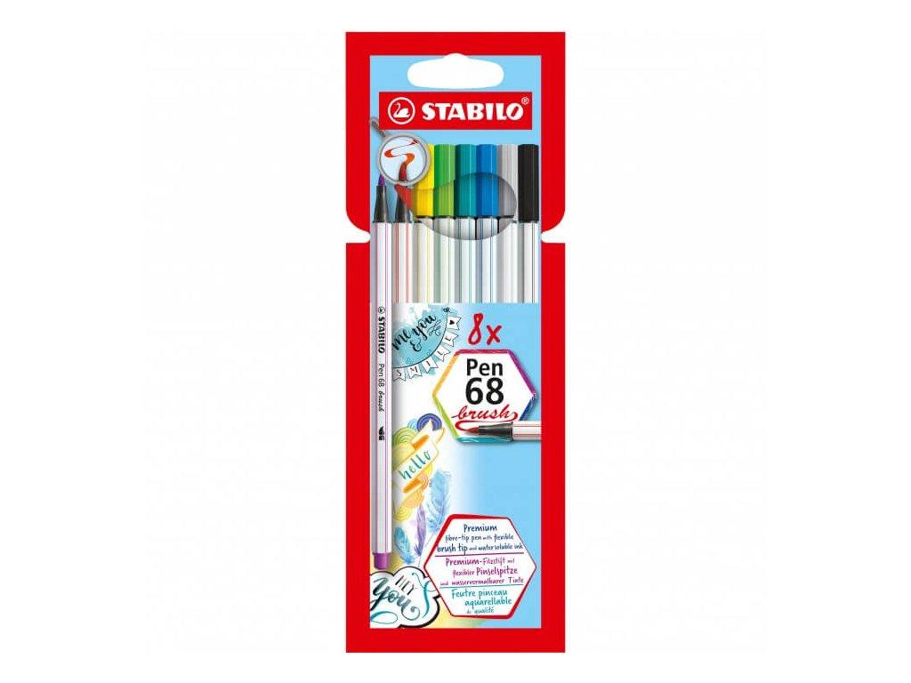 Štětcové fixy Stabilo Pen 68 Brush sada 8 ks