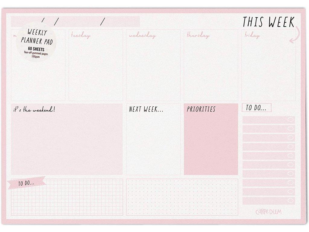 Stolní plánovač Carpe Diem týdenní Ballerina Pink