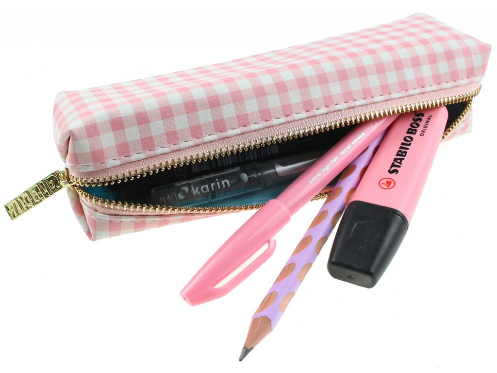 Penál Carpe Diem pink check