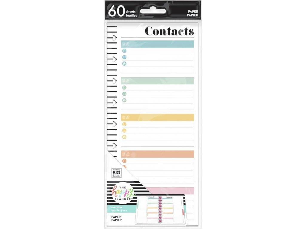 Poznámkové listy Happy Planner SKINNY CLASSIC Contacts