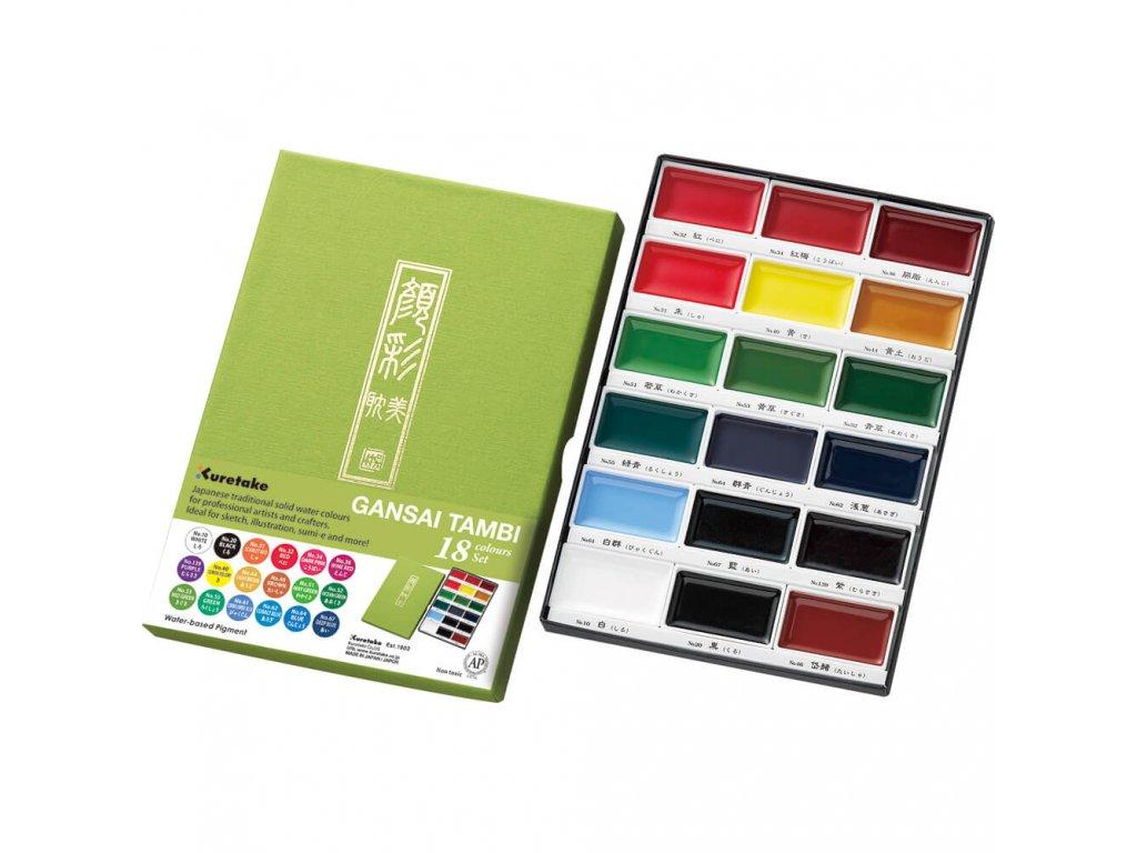 Akvarelové barvy Kuretake Gansai Tambi, sada 18 ks