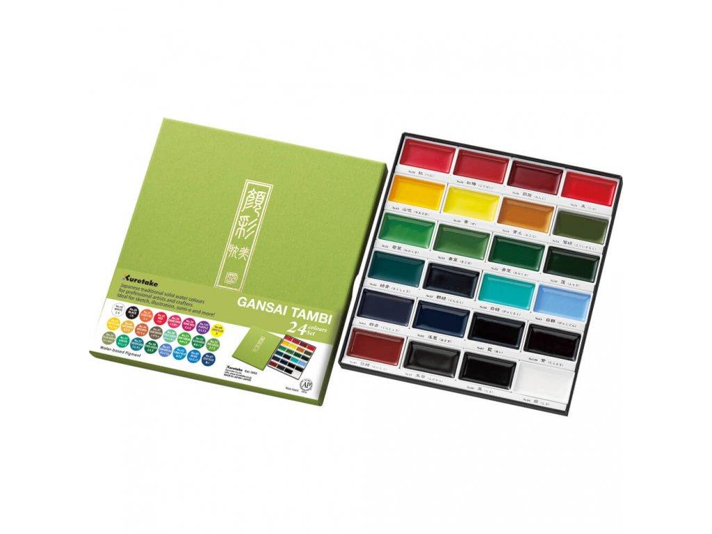 Akvarelové barvy Kuretake Gansai Tambi, sada 24 ks