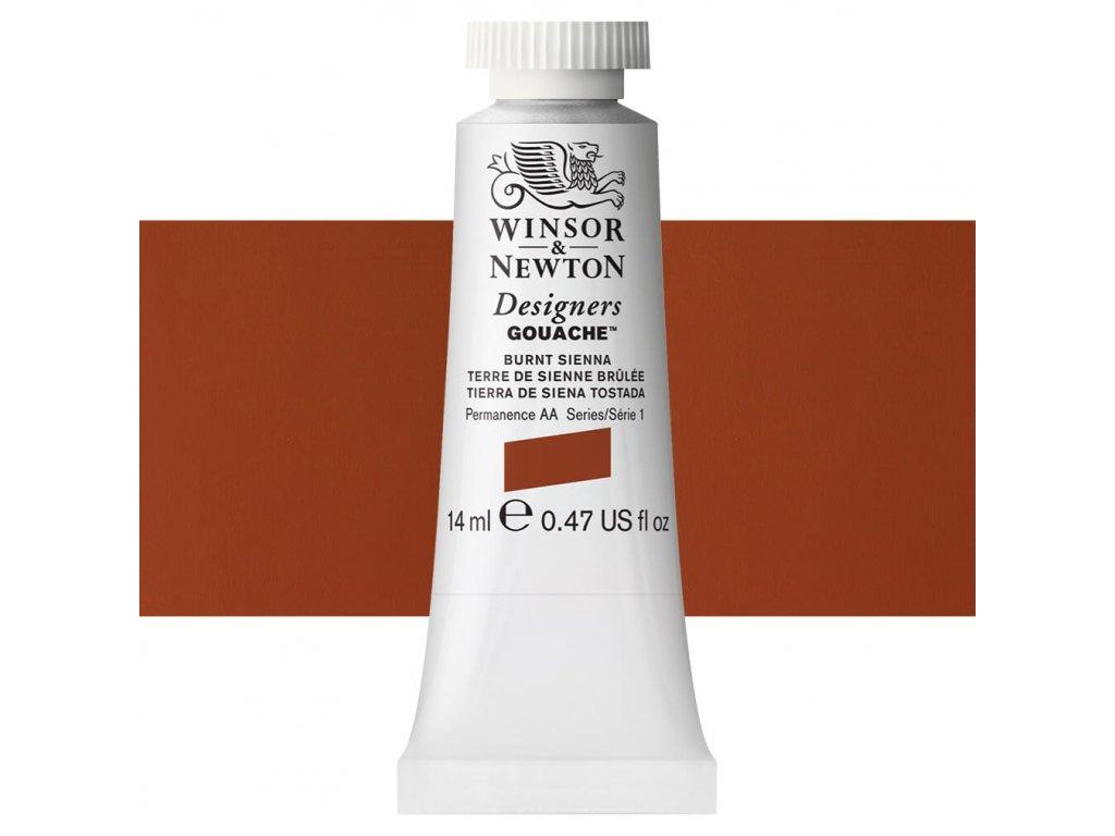 kvasova barva winsor newton swatch burnt sienna