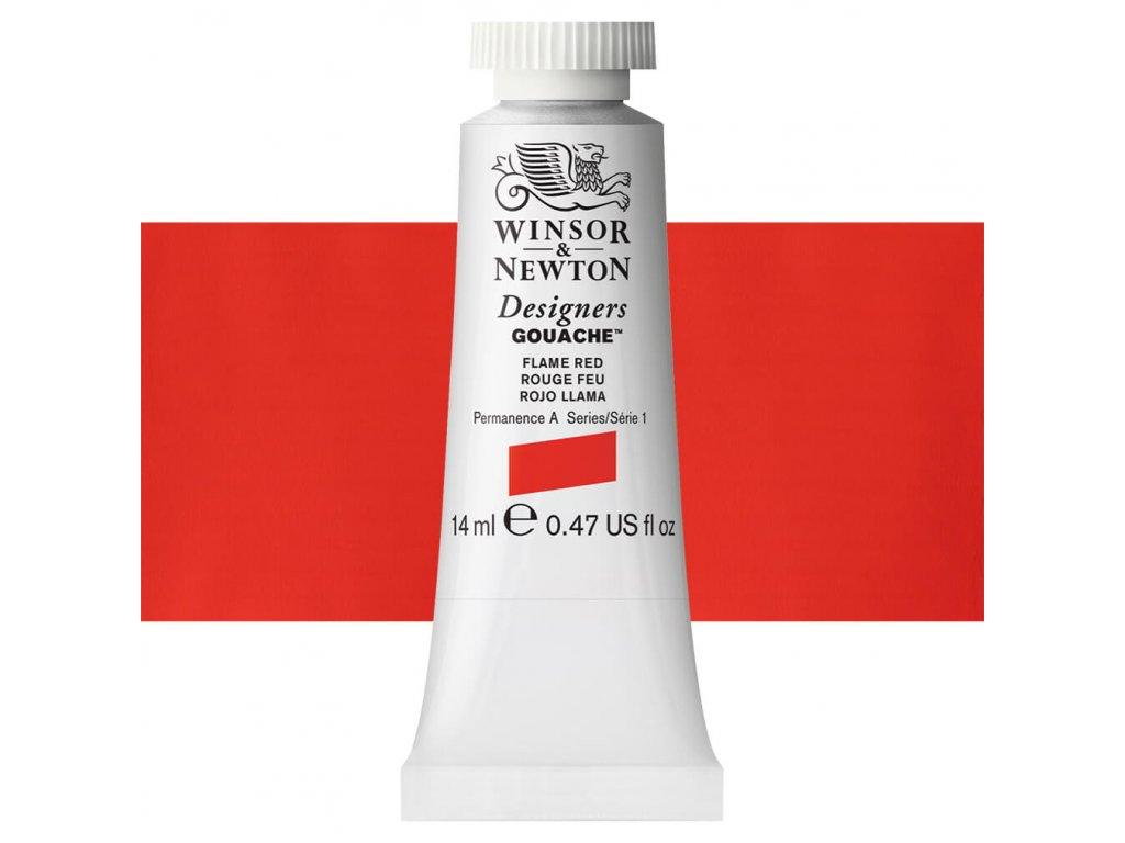 kvasova barva winsor newton swatch naples flame red