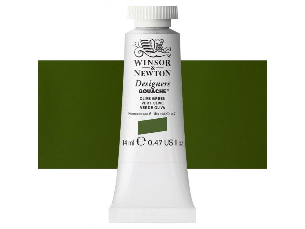 kvasova barva winsor newton swatch olive green