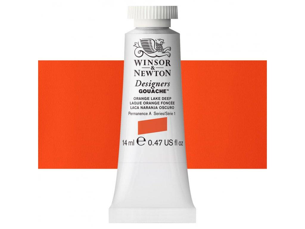 kvasova barva winsor newton swatch orange lake deep