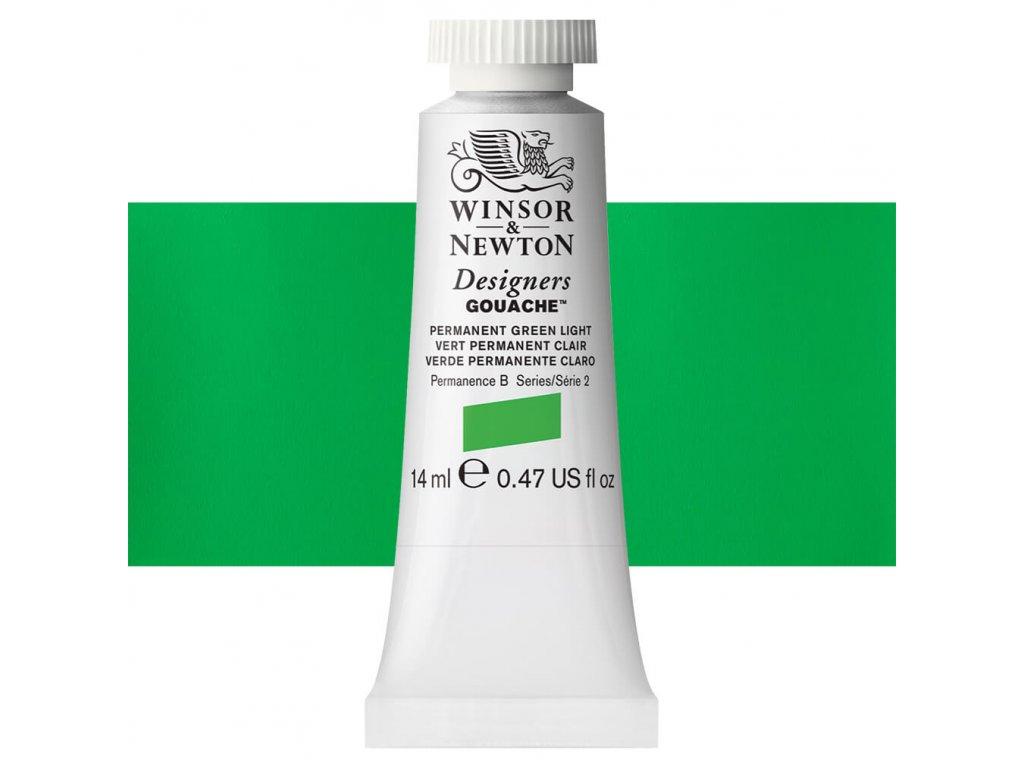 kvasova barva winsor newton swatch permanent green light