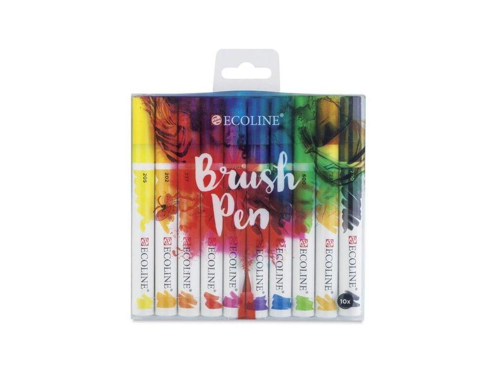 Akvarelové štětcové fixy Ecoline, sada 10 ks