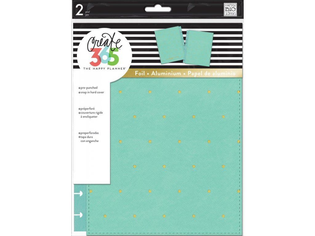 Desky na diář Happy Planner CLASSIC - Turquoise / Gold Dots