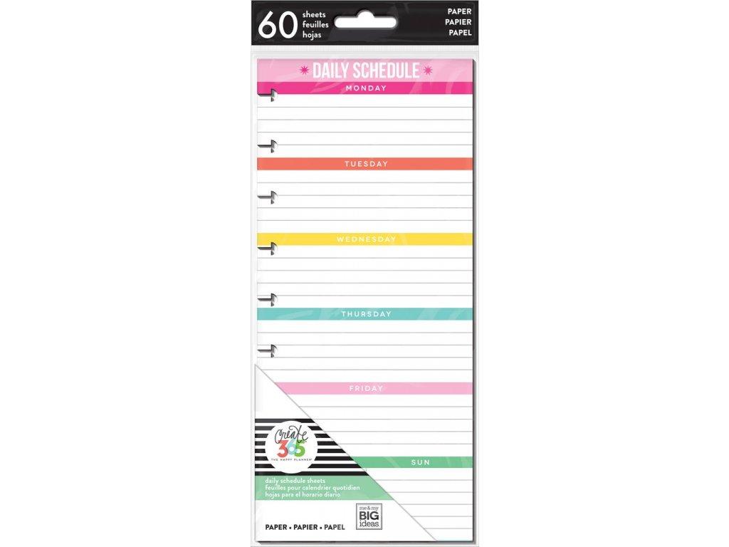 Poznámkové listy Happy Planner SKINNY CLASSIC - Daily Schedule