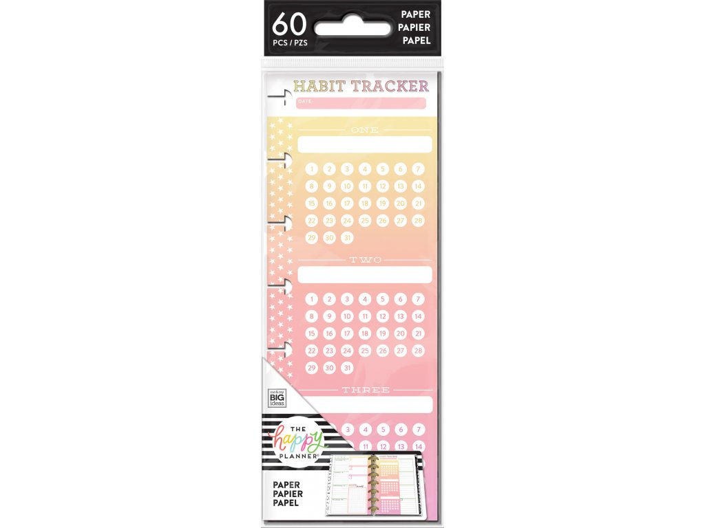 Poznámkové listy Happy Planner SKINNY MINI - Habit Tracker