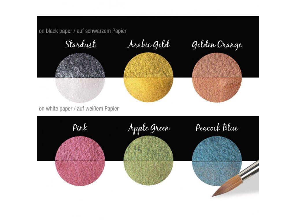 Akvarelové barvy Coliro Pearlcolors - Candy, sada 6 ks