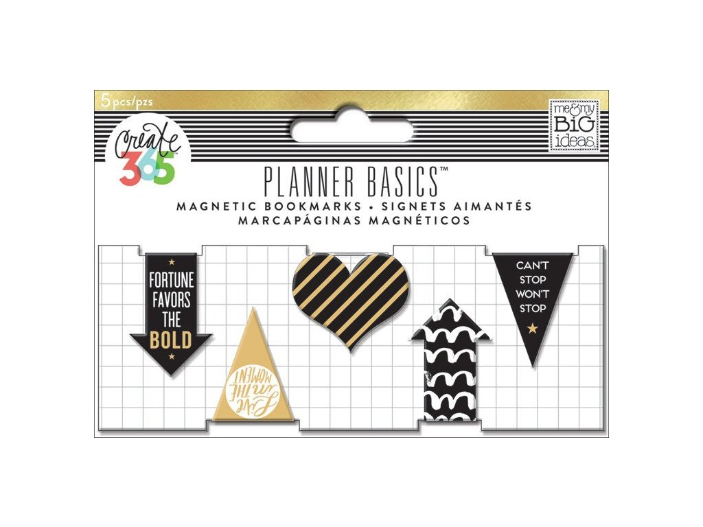 Magnetické záložky Happy Planner - Black, White and Gold