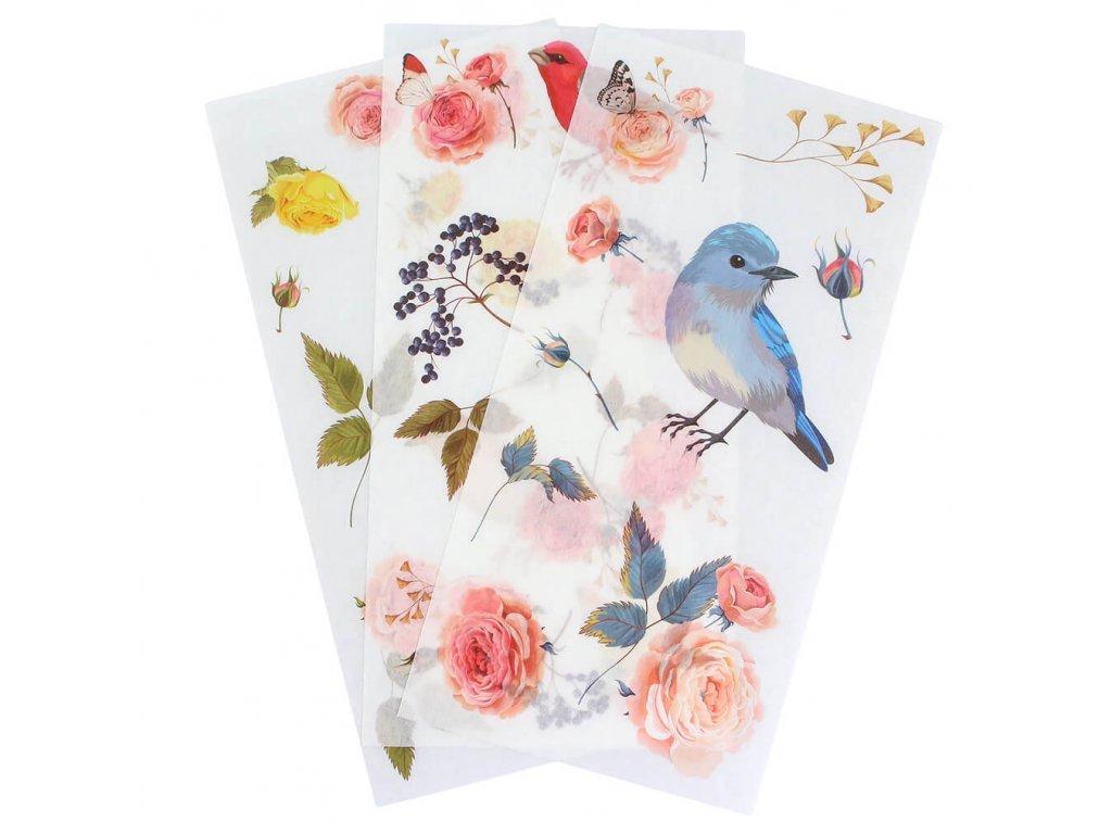 Samolepky ptáci a květiny