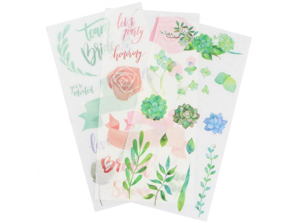 Samolepky zeleno růžové