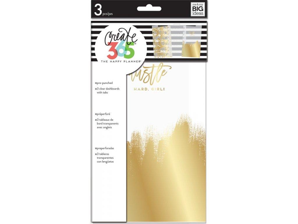 Plastové rozdělovače Happy Planner CLASSIC - Gold Foil