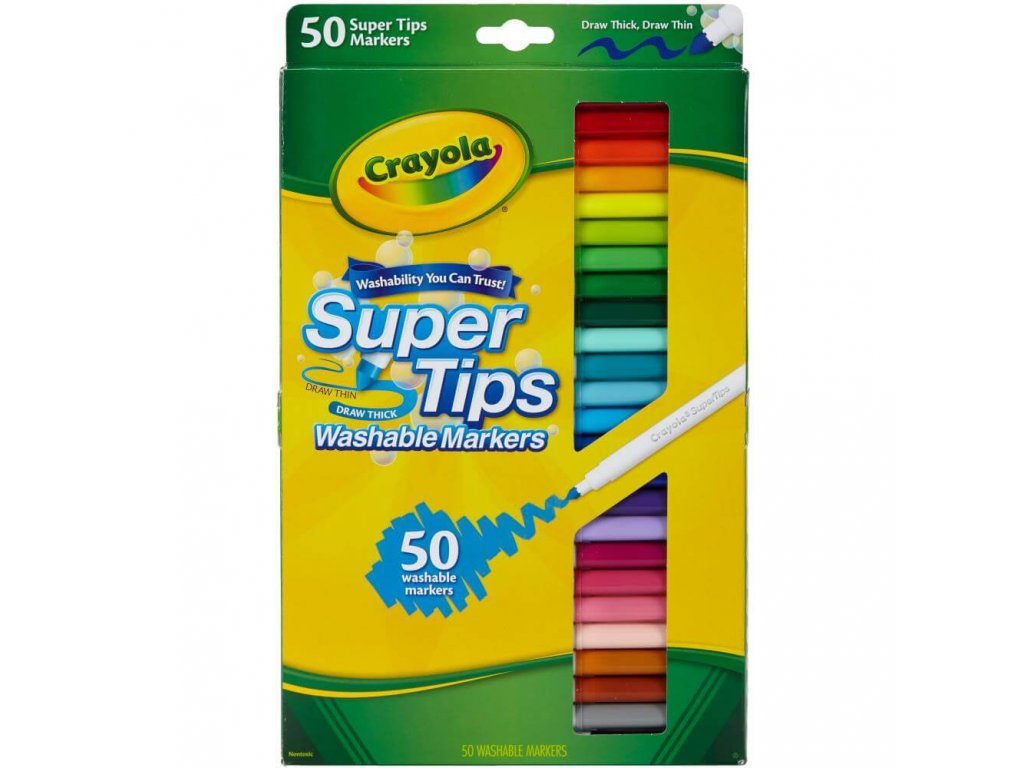 Fixy Crayola Super Tips s kónickým hrotem, 50 ks