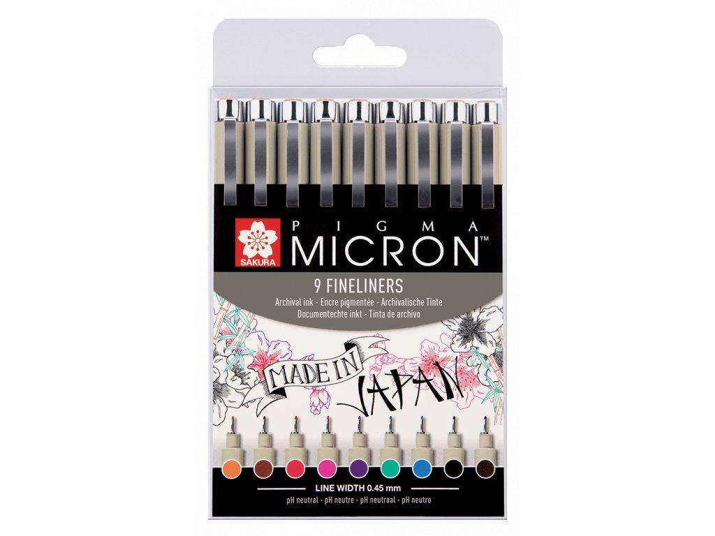Linery Sakura Pigma Micron barevné, sada 9 ks
