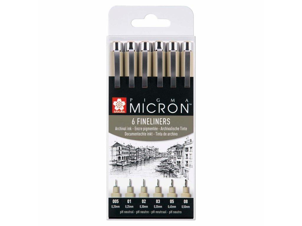 Sada linerů Sakura Pigma Micron 6 ks, černé